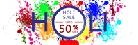 Holi Sale Upto 50% OFF Shop Sale Banner template
