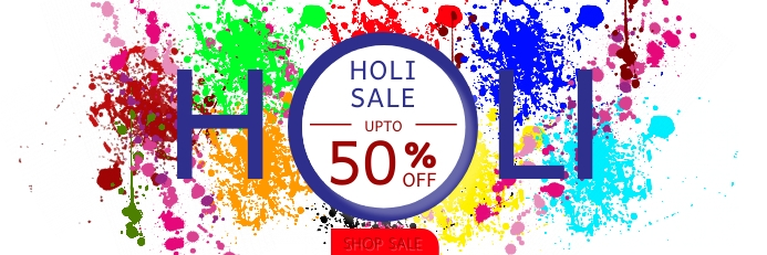 Holi Sale Upto 50% OFF Shop Sale Banner template