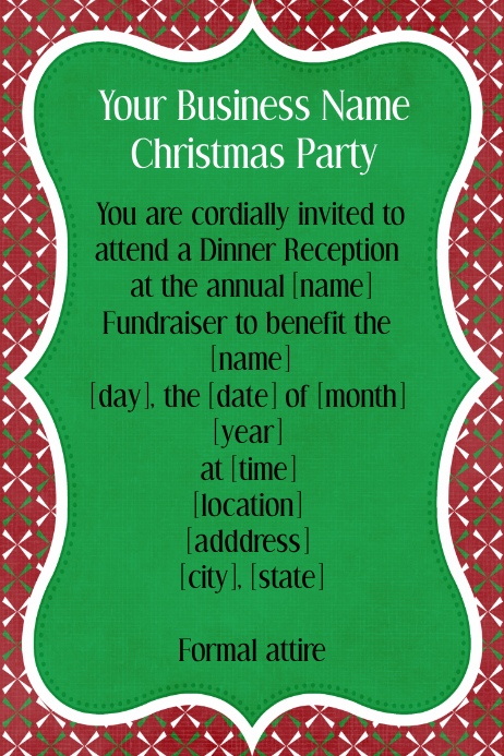 Holiday Christmas Fundraiser Dinner Reception Invitation