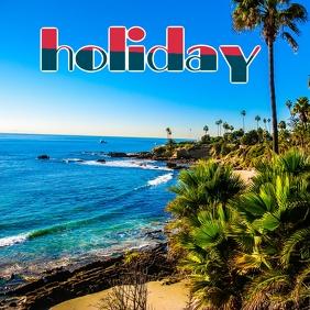 holiday at beach Sampul Album template