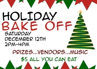 Holiday bake off fundraiser contest Kartu Pos template
