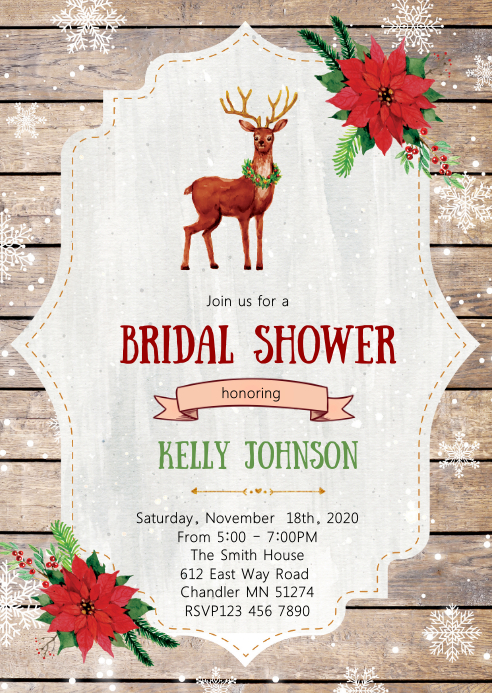 Holiday bridal shower invitation