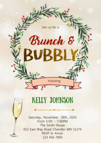 Holiday Brunch and bubbly party invitation A6 template