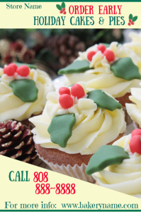 Holiday Cakes & Pies Poster Template