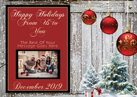 holiday Christmas card template Poskaart