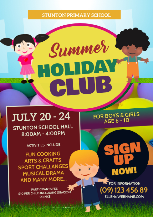 Holiday Club Flyer A4 template
