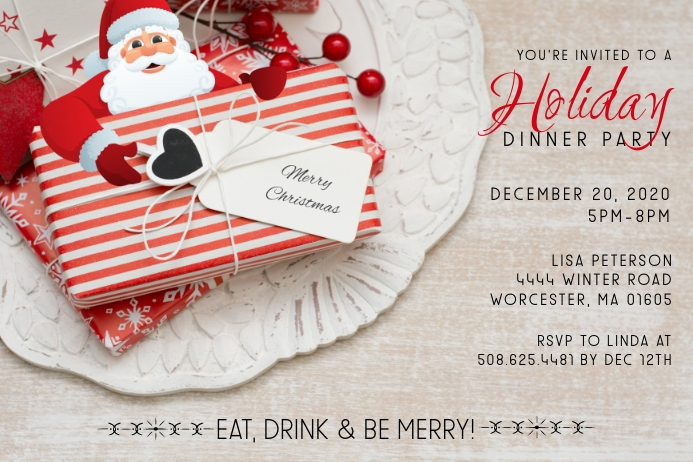 Holiday Dinner Invitation Etiket template
