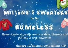 Holiday Donations for Mittens and Sweaters Postal template