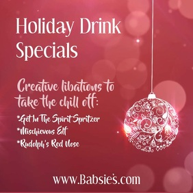 Holiday Drink Specials glistening ornament video ad Square (1:1) template