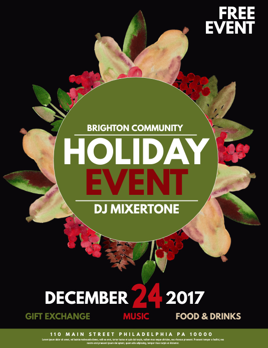 Holiday Event Template Postermywall