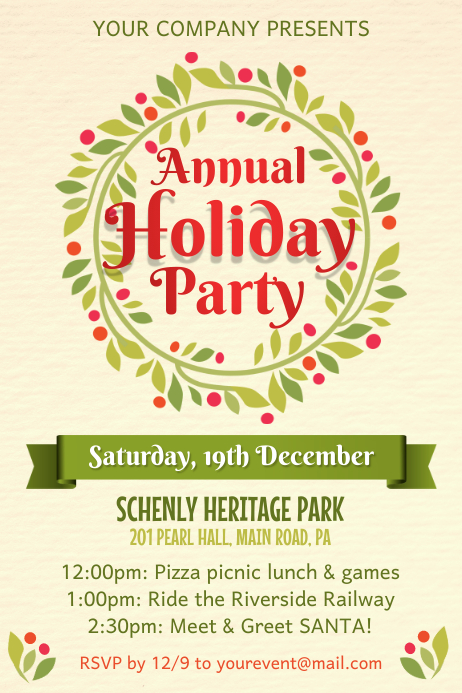 Holiday Event Poster Template Plakkaat