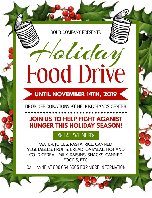 Holiday Food Drive Løbeseddel (US Letter) template
