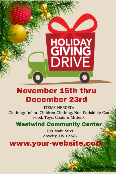 holiday giving drive template postermywall