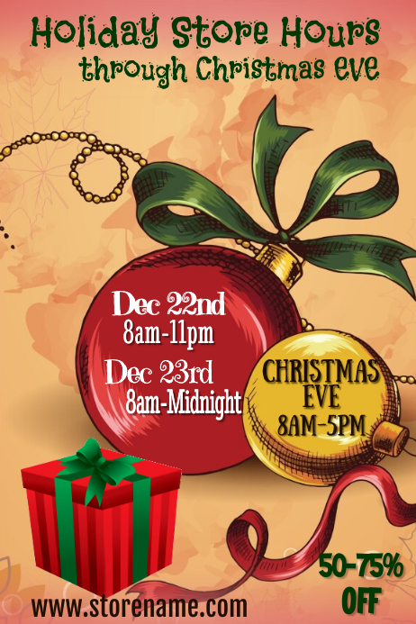 Holiday Hours Poster Template