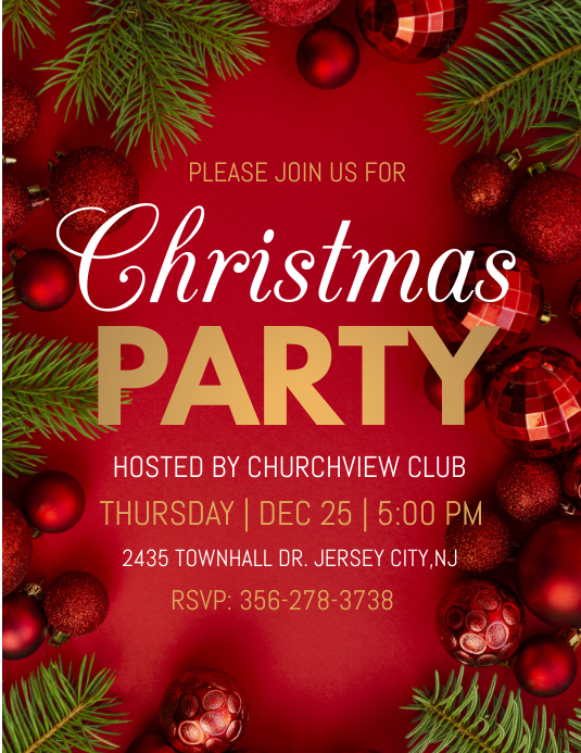 holiday party, christmas party Pamflet (Letter AS) template