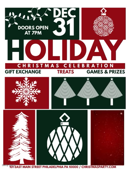 Holiday party flyer with ornaments and blue ribbon (formal design).