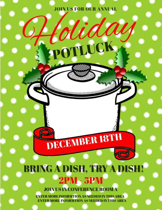 holiday potluck template postermywall
