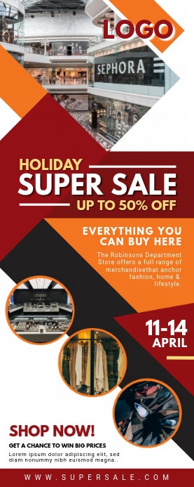 Holiday Sale Advertisement Roll up Banner