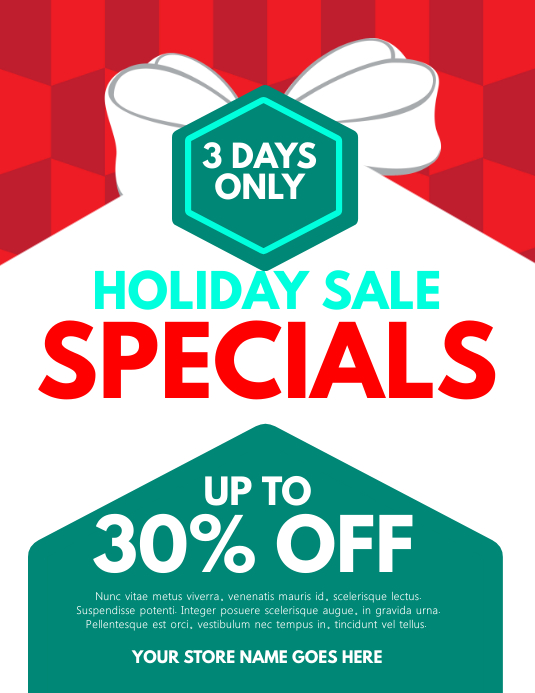 Holiday Sale Specials Flyer Template Postermywall