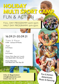 Holiday sport camp fun action activities kids A4 template
