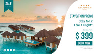 Holiday Staycation Promo Poster Digitale Vertoning (16:9) template