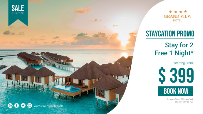 Holiday Staycation Promo Poster Tampilan Digital (16:9) template