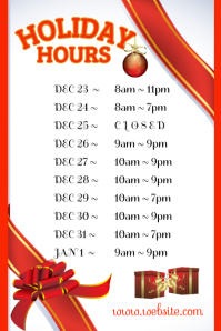 Holiday Store Hours Poster