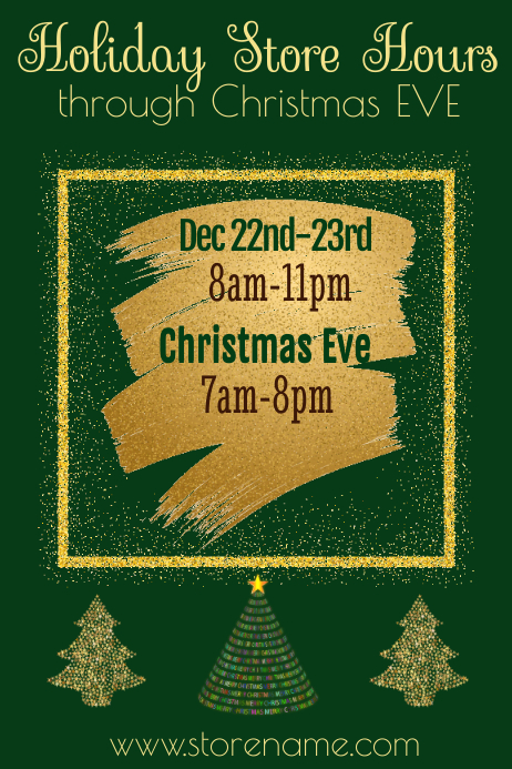 Holiday Store Hours Poster Template