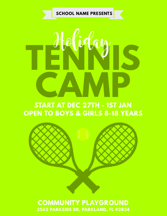 Holiday Tennis Camp Flyer