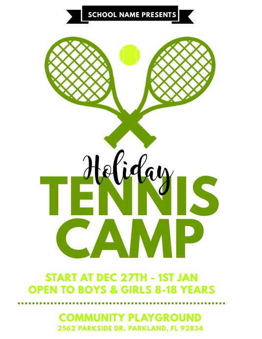 Holiday Tennis Camp Flyer Template Postermywall