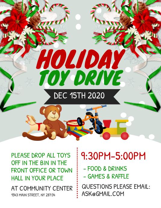Holiday Toy Drive Flyer 传单(美国信函) template