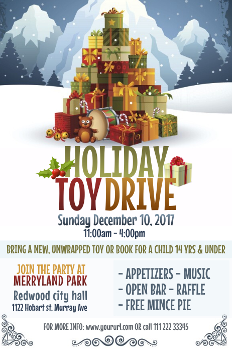 Holiday Toy Drive Poster Template  Free Holiday Flyer Templates Word