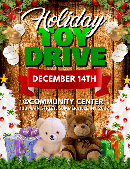 Holiday Toy Drive Flyer Template Postermywall