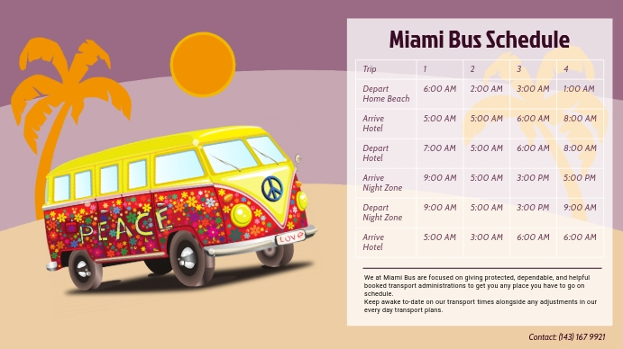 Holiday Travel Bus Schedule Template Digital Цифровой дисплей (16 : 9)