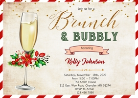 Holliday brunch and bubbly bridal shower A6 template