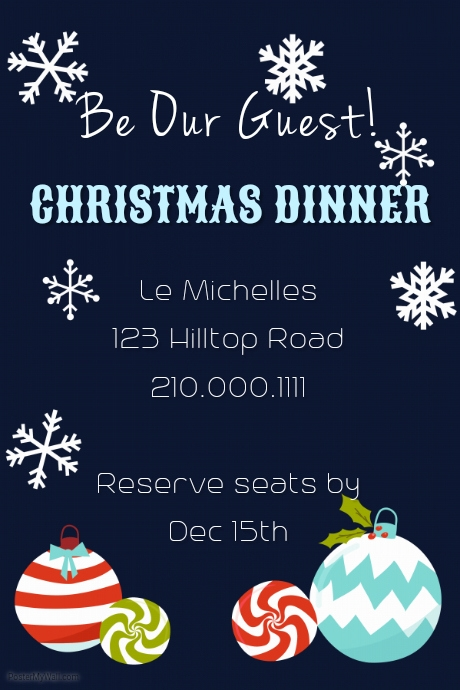 holly christmas dinner invite template postermywall