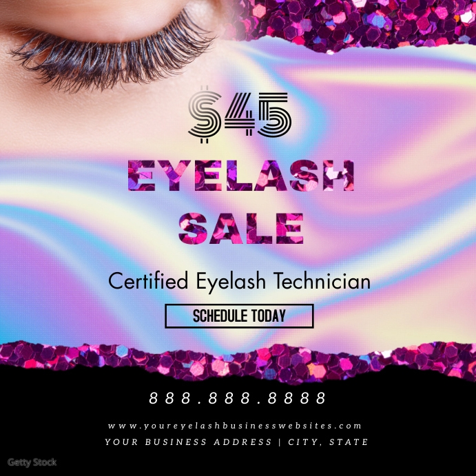 Hologram Online Classes Eyelash Glitter Ad โพสต์บน Instagram template