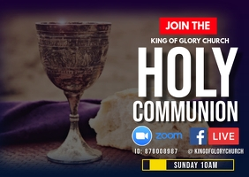 Holy Communion Service flyer Postcard template