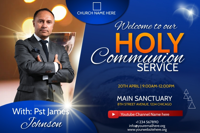 holy communion service flyer Affiche template