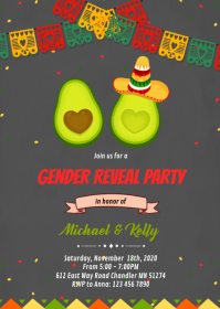 Holy Guacamole gender reveal card A6 template