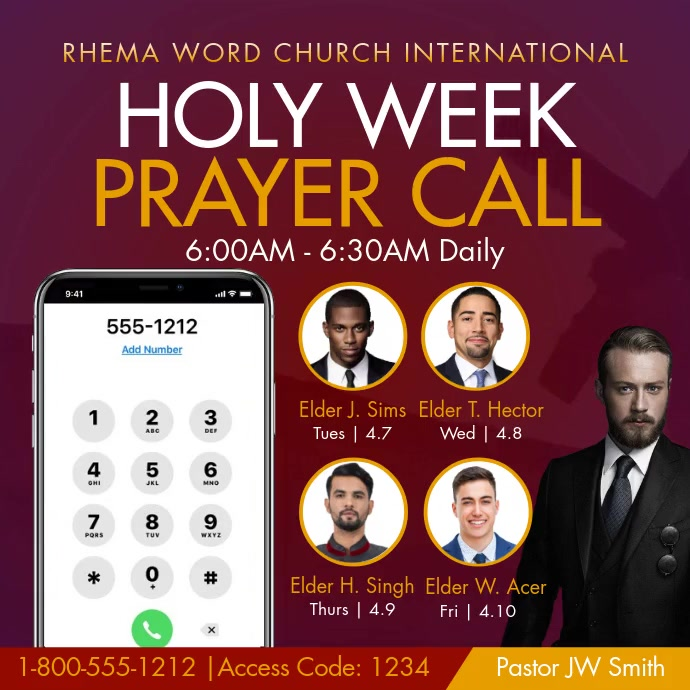 Holy Week Prayer Call Instagram na Post template