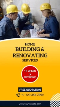 Home Building & Renovating Service Video Ad Цифровой дисплей (9 : 16) template