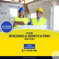 Home Building & Renovating Service Video Ad Vierkant (1:1) template