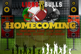 Home Coming Dance Party High School Football Event Teen Poster template