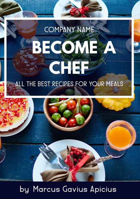 home cooking recipes book cover design templa A4 template