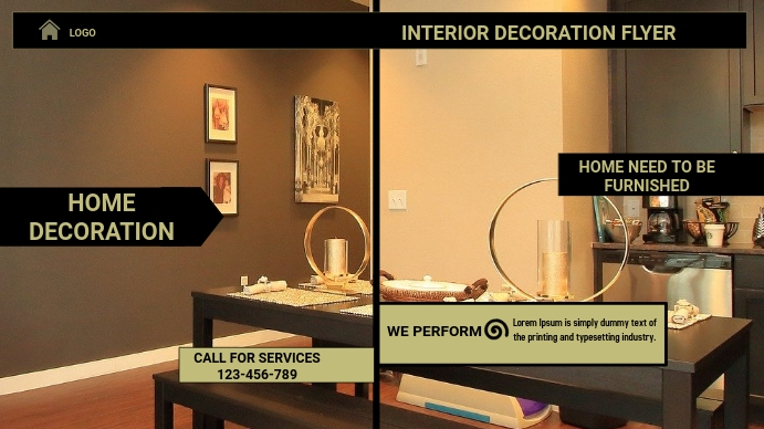 home decoration flyer,small business flyer Digital na Display (16:9) template