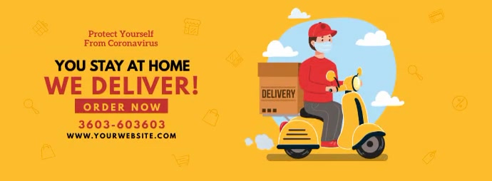 Home Delivery Service รูปภาพหน้าปก Facebook template