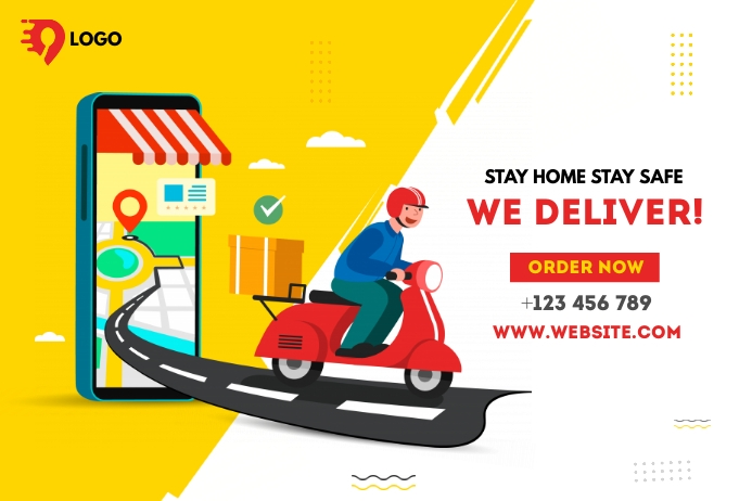 Home delivery service Banner 4 x 6 fod template