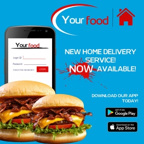 Home Food Delivery Service Flyer Template Square (1:1)