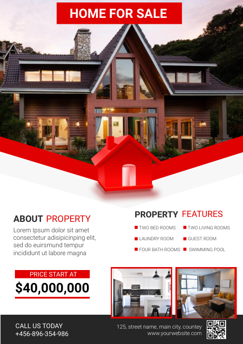 home for sale A4 template